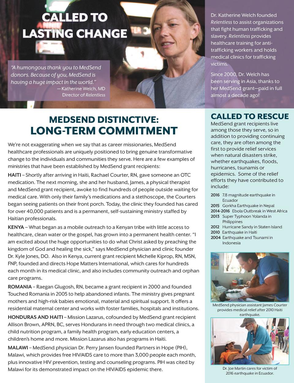 CALLED TO LASTING CHANGE    A humongous thank you to MedSend donors. Because of you, MedSend is having a huge impact in th...